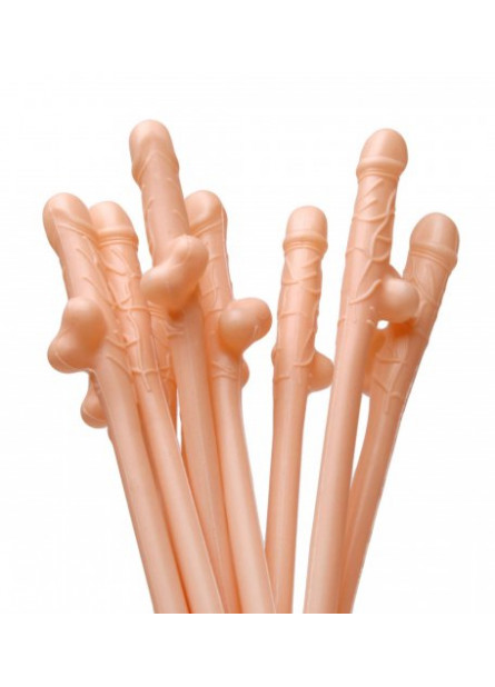 Penis Sipping Straws 10 Pack - Flesh